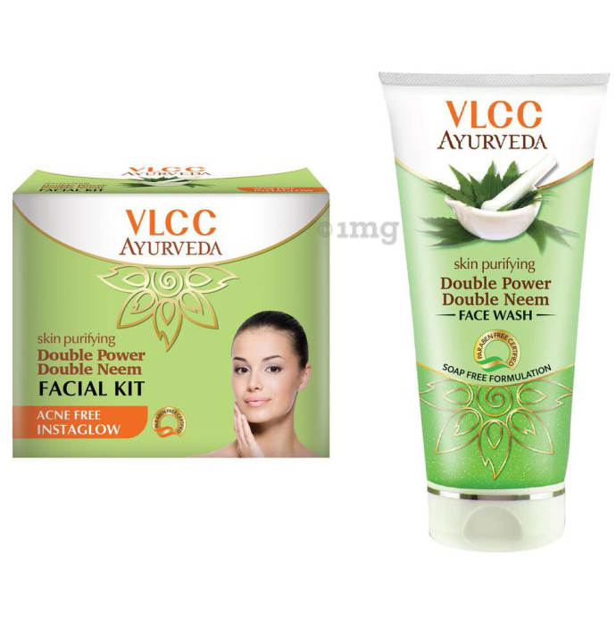 VLCC Ayurveda Combo of Double Neem Facial Kit & Double Neem Face Wash