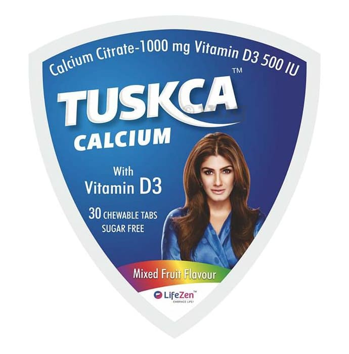 Tuskca Calcium with Vitamin D3 Sugar Free Mixed Fruit Chewable Tablet