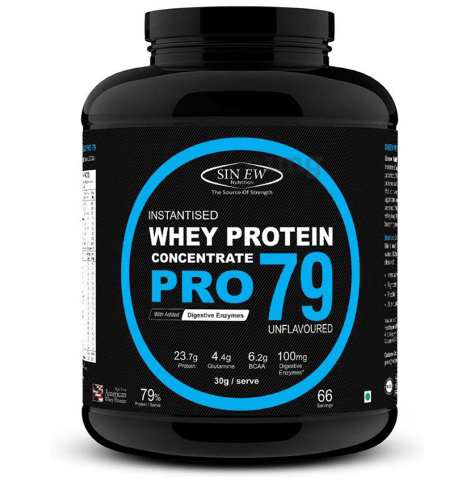Sinew Nutrition Raw Whey Protein Concentrate Pro 79% with Digestive Enzymes Unflavoured