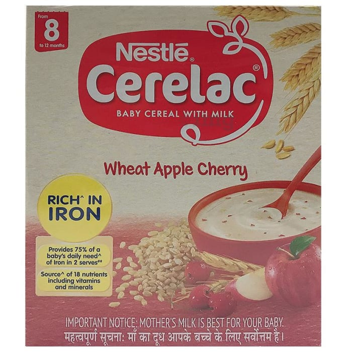 Nestle Cerelac Fortified Baby Cereal with Milk 8 Months+ Wheat Apple Cherry