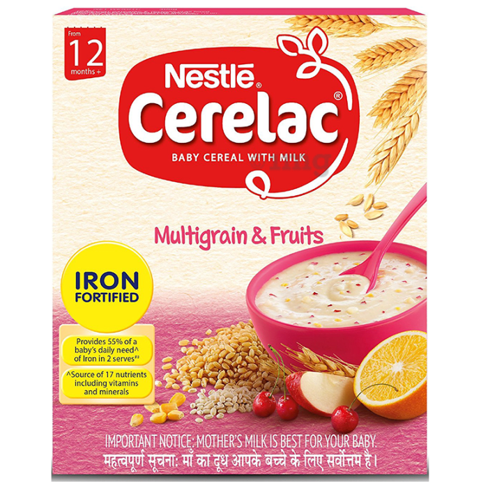 Nestle Cerelac Fortified Baby Cereal with Milk 12Months+ Multigrain and Fruit