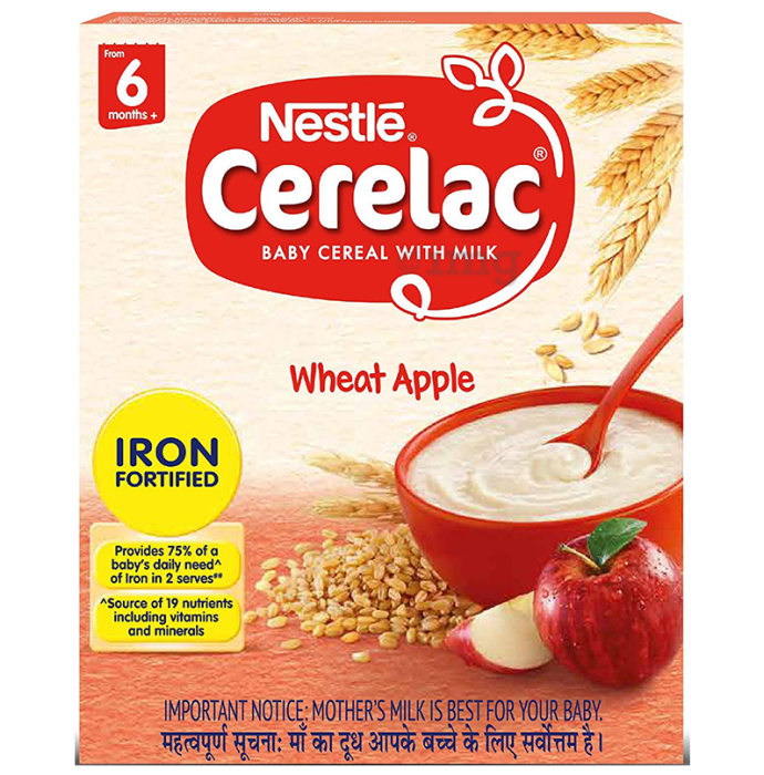 Nestle Cerelac Fortified Baby Cereal with Milk 6 Months+ Wheat Apple