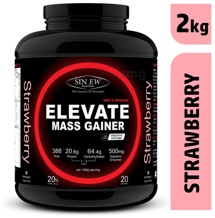 Sinew Nutrition Elevate Mass Gainer with DigiEnzymes Strawberry