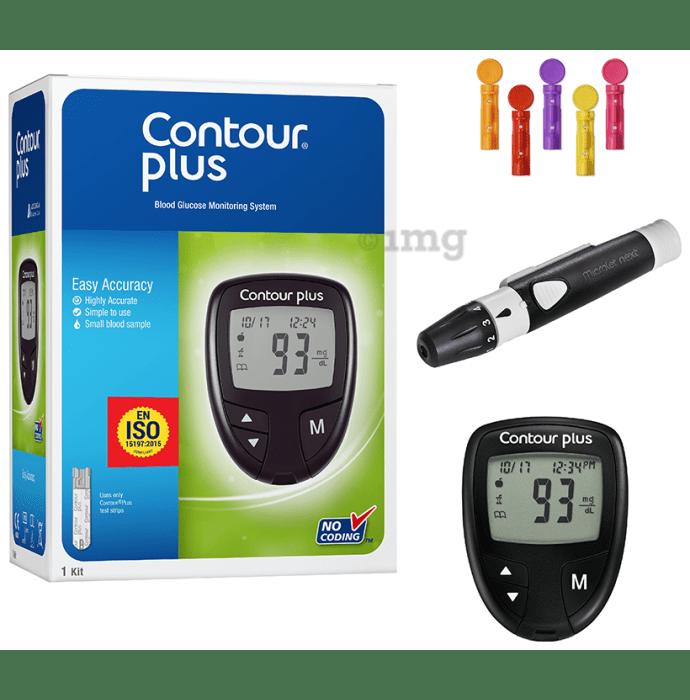 Contour Plus Blood Glucose Monitoring System with Contour Plus Blood Glucose Test Strip 25S Free