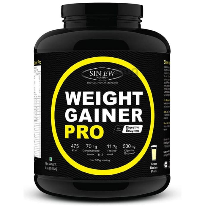 Sinew Nutrition Weight Gainer Pro with Digestive Enzymes Kesar Pista Badam