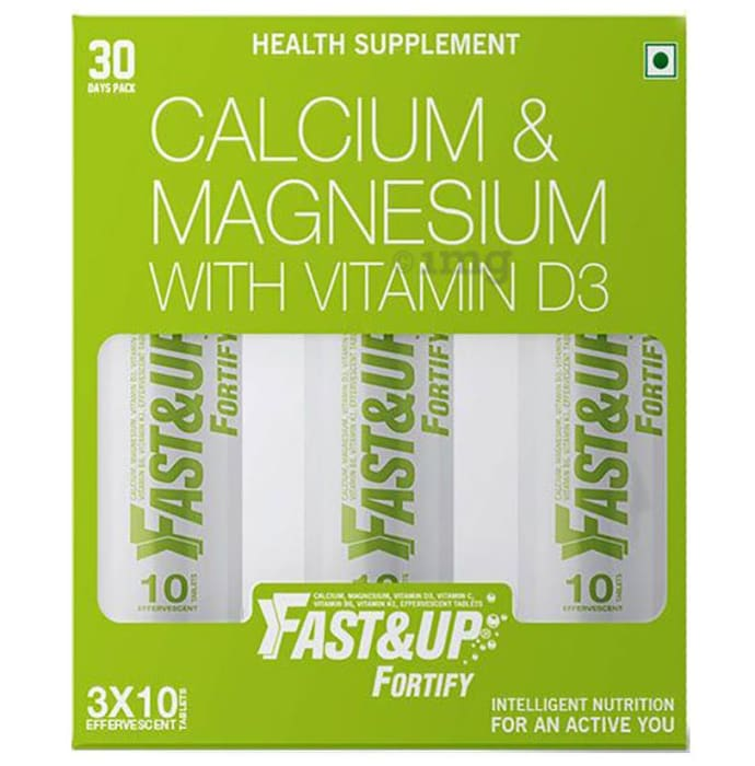 Fast&Up Fortify Calcium & Magnesium with Vitamin D3 Lemon and Lime Effervescent Tablet