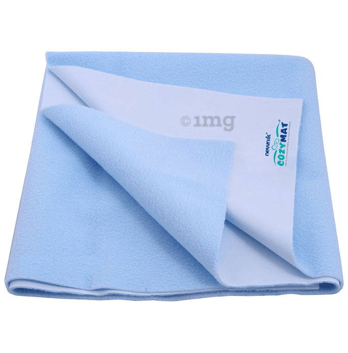 Newnik Cozymat, Dry Sheet (Size: 140cm X 220cm) Single Bed Sky Blue