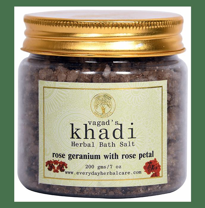 Vagad's Khadi Rose Geranium with Rose Petals Herbal Bath Salt