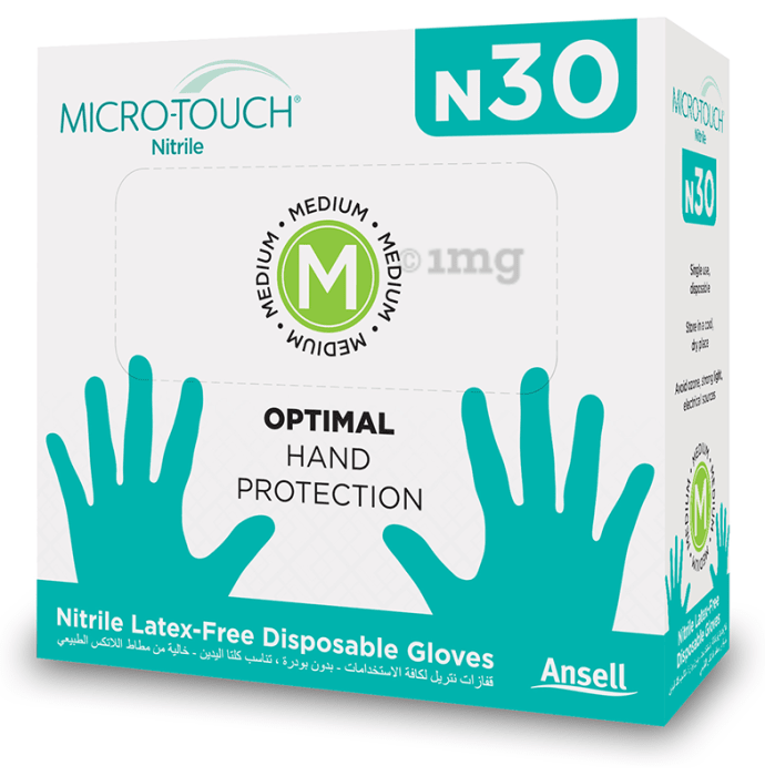 Ansell Micro-Touch N30 Nitrile Latex-Free Disposable Gloves Medium