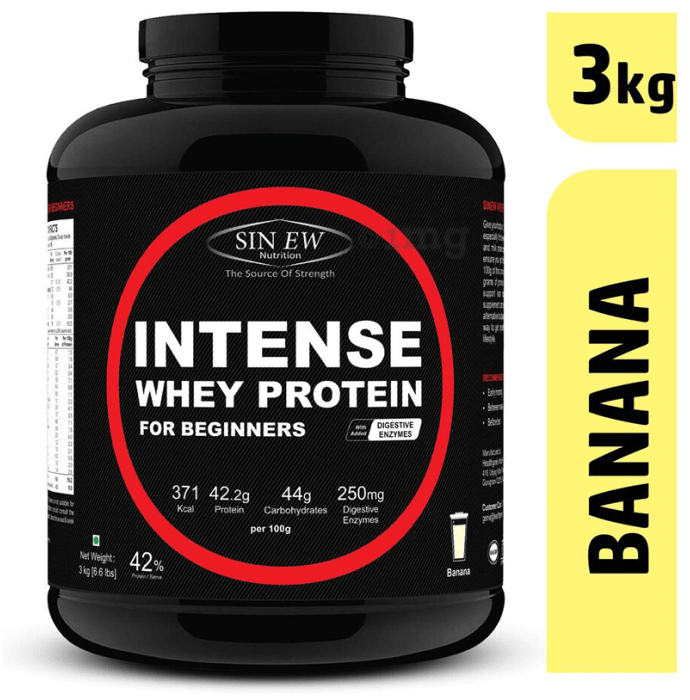 Sinew Nutrition Intense Whey Protein for Beginners with Digestive Enzymes Banana
