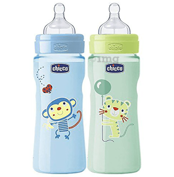 Chicco Combo Pack of Wellbeing Feeding Bottle (250ml Each) Blue and Green