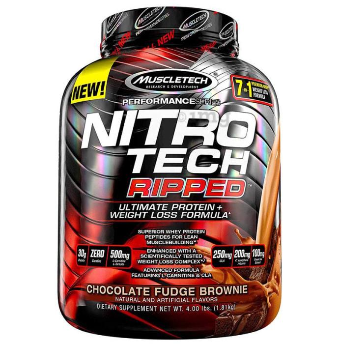 Muscletech Performance Series Nitro Tech Ripped Whey Protein Powder Chocolate Fudge Brownie