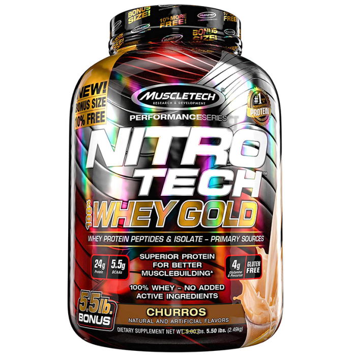 Muscletech Performance Series Nitro Tech 100% Whey Gold Whey Protein Peptides & Isolate Powder Churros