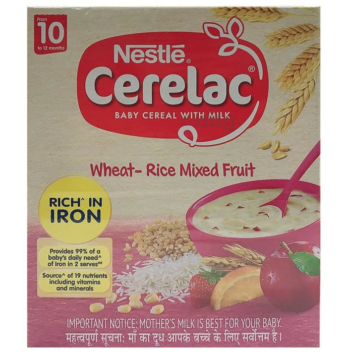 Nestle Cerelac Fortified Baby Cereal with Milk 10 Months+ Wheat Rice Mix Fruit