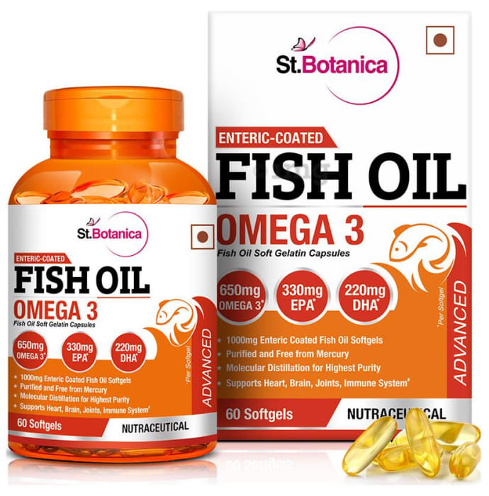 St.Botanica Enteric Coated Fish Oil Omega 3 Advanced with 1000mg Fish Oil and 650mg Omega 3 Softgels