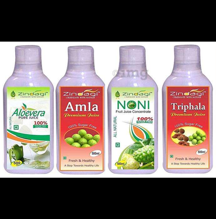 Zindagi Combo Pack of Amla Juice, Aloevera Juice, Triphala Juice & Noni Juice (500 ml Each)