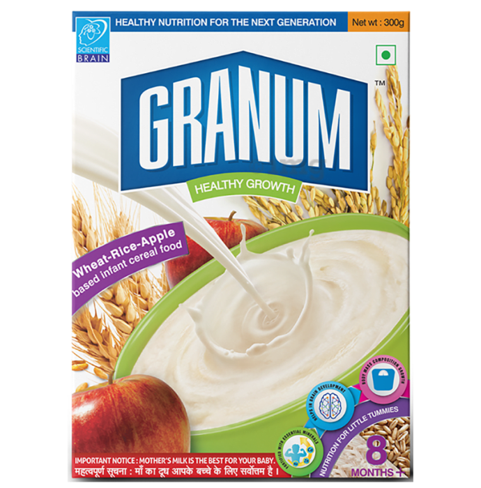 Granum Wheat Rice Apple Based Infant Cereal Food 8 Months Plus