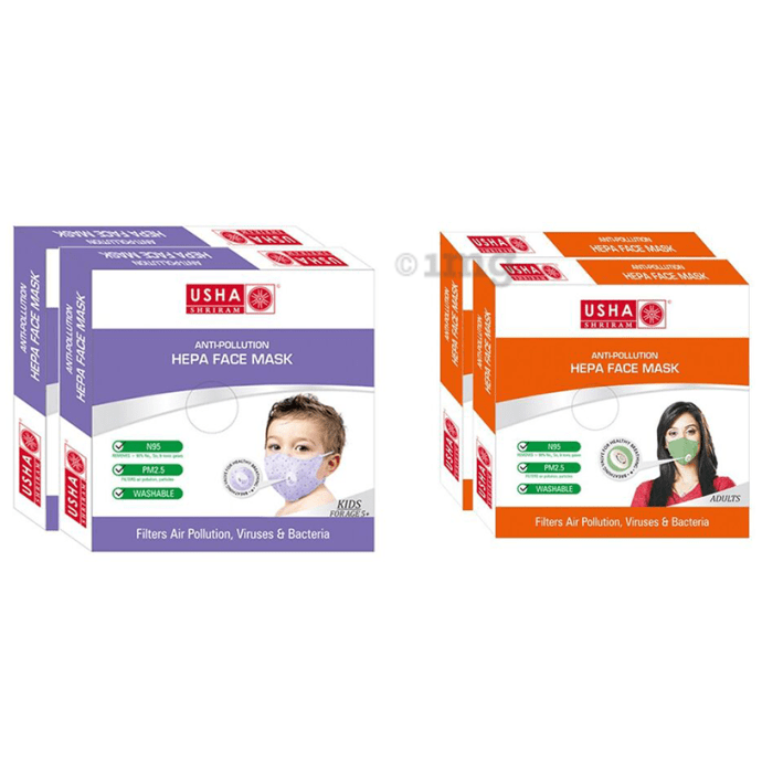 Usha Shriram Combo of N95 Anti Pollution HEPA Face Mask for Adults and Kids (2+2)