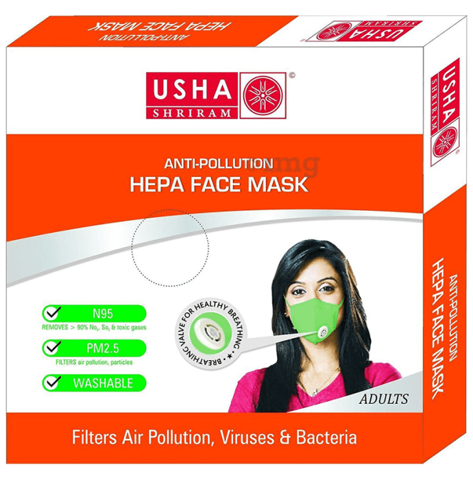 Usha Shriram N95 Anti-Pollution HEPA Face Mask for Adults
