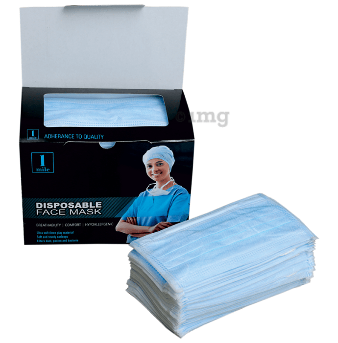 1Mile Disposable 3 Ply Face Mask White