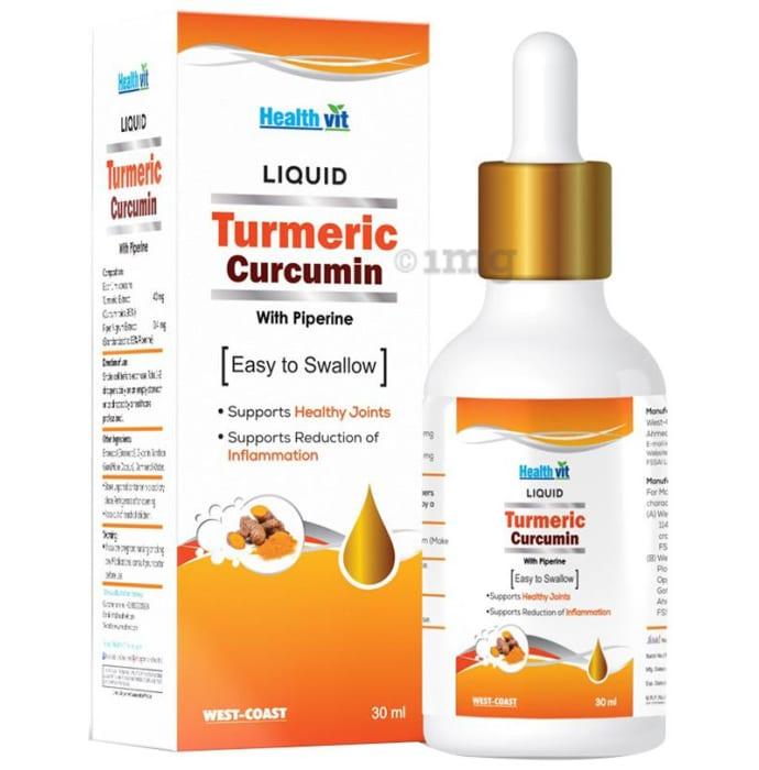 HealthVit Turmeric Curcumin with Piperine Liquid Drop with Dropper