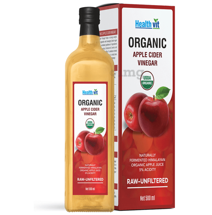 HealthVit Organic Apple Cider Vinegar with The Mother - Raw, Unfiltered