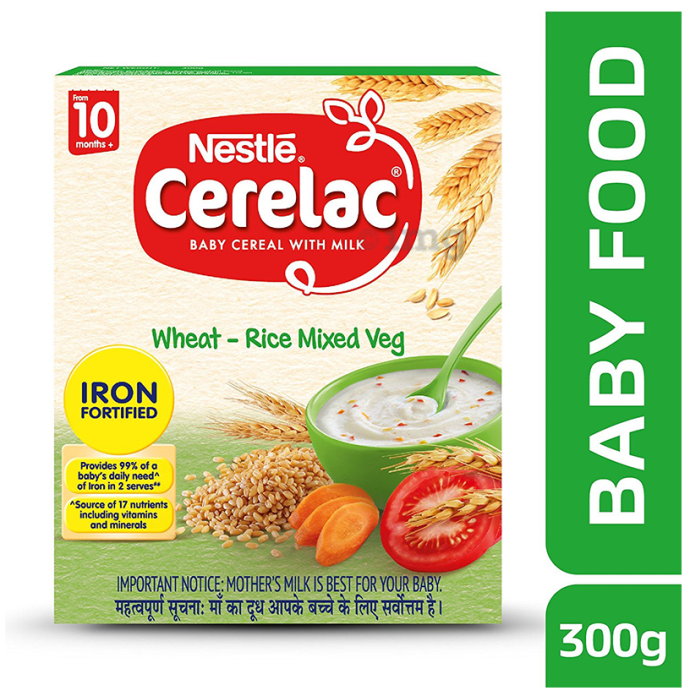 Nestle Cerelac Fortified Baby Cereal with Milk 10 Months+ Wheat Rice Mix Veg