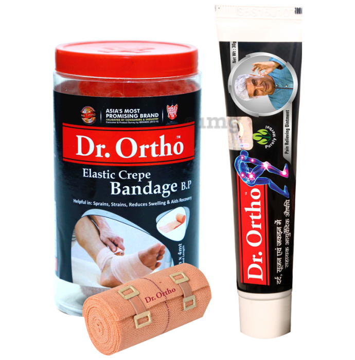 Dr Ortho Combo Pack of Crepe Bandage (10X4) & Pain Relief Ointment 30gm