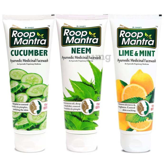 Roop Mantra  Combo Pack of Cucumber Face Wash, Neem Face Wash & Lime Mint Face Wash (50ml Each)