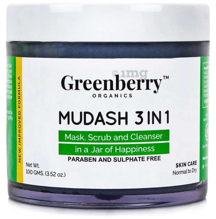 Greenberry Organics Mudash 3 in 1 Mask, Scrub and Cleanser