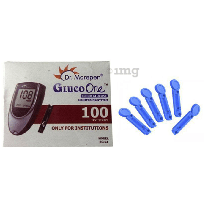 Dr Morepen Combo Pack of BG-03 Test Strips & Round Lancets (100 Each)