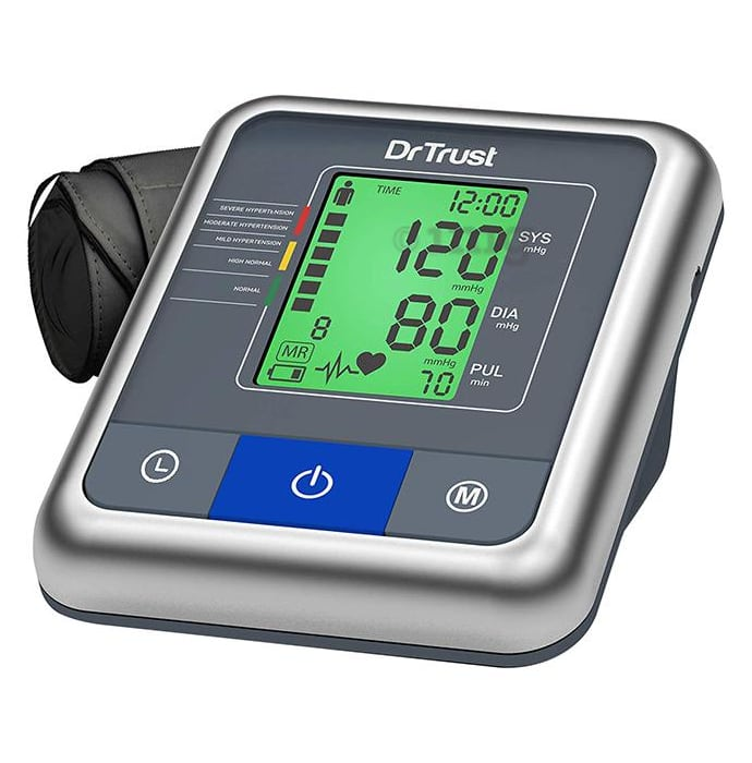 Dr Trust USA A One Max Talking Digital Blood Pressure Monitor 3 Color Backlight Hindi English Talking Grey