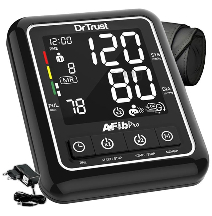 Dr Trust USA Atrial Fibrillation Automatic Dual Talking Digital Blood Pressure Monitor Black