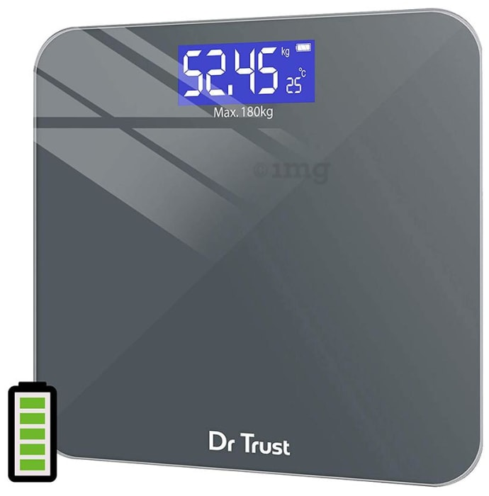 Dr Trust USA Electronic Platinum Rechargeable Digital Personal Weighing Scale with Temperature Display Grey