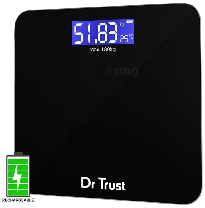 Dr Trust USA Electronic Zen Rechargeable Digital Personal Weighing Scale with Temperature Display Black
