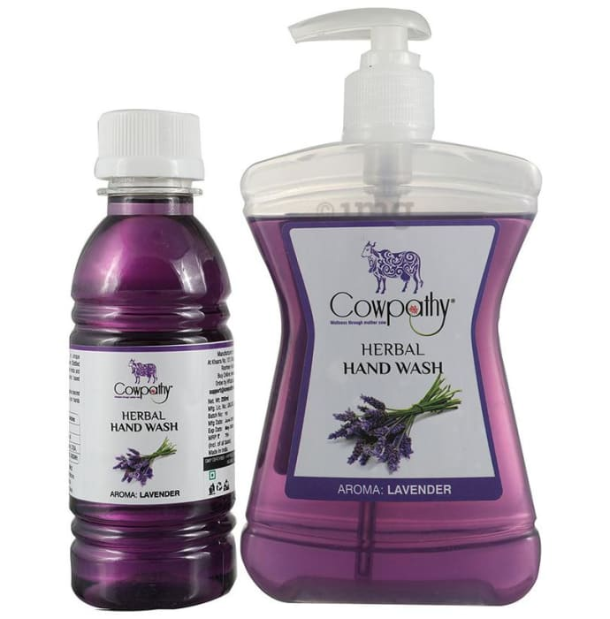 Cowpathy Combo Pack of Herbal Hand Wash Bottle 250ml with Refill 200ml Lavender