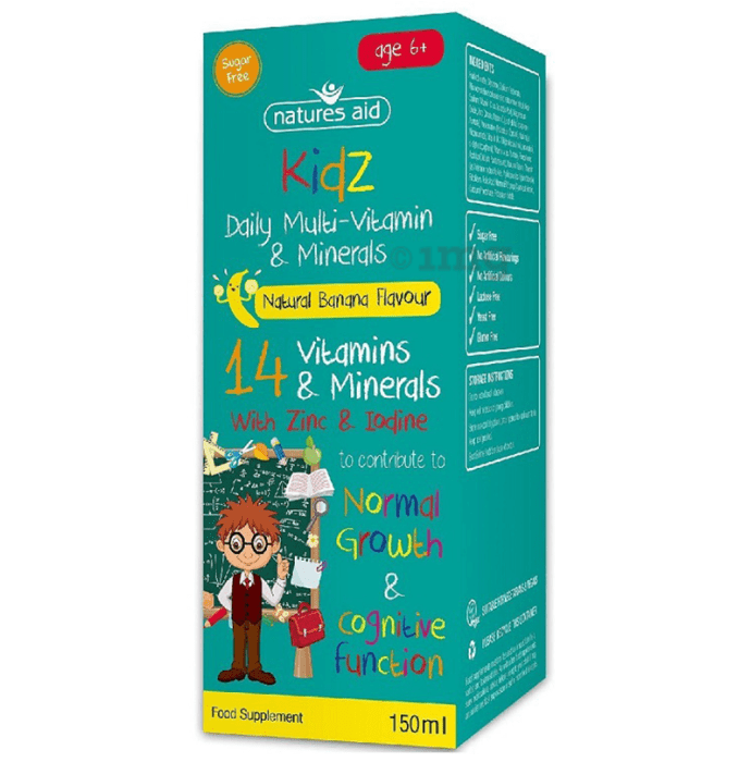 Natures Aid Kidz Multi-Vitamin & Mineral Liquid Age 6+ Banana