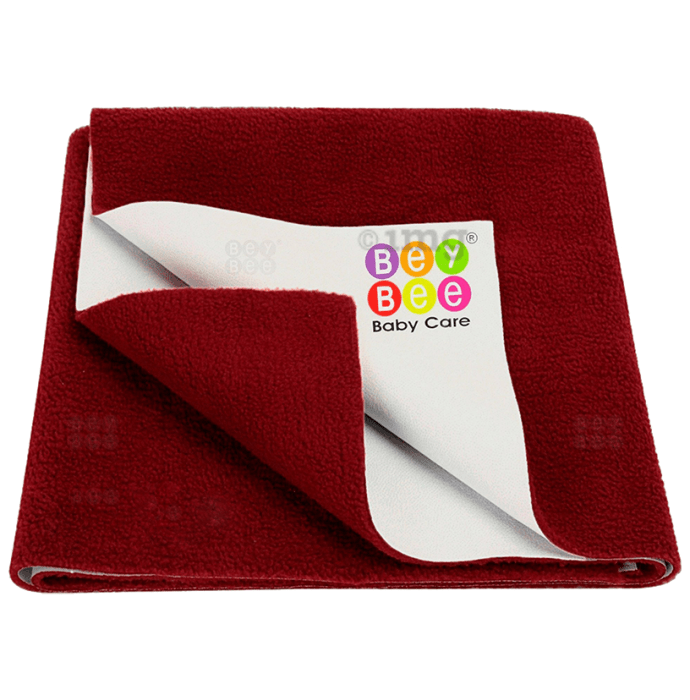 Bey Bee Waterproof Baby Bed Protector Dry Sheet for New Born Babies (70cm X 50cm) Small Maroon