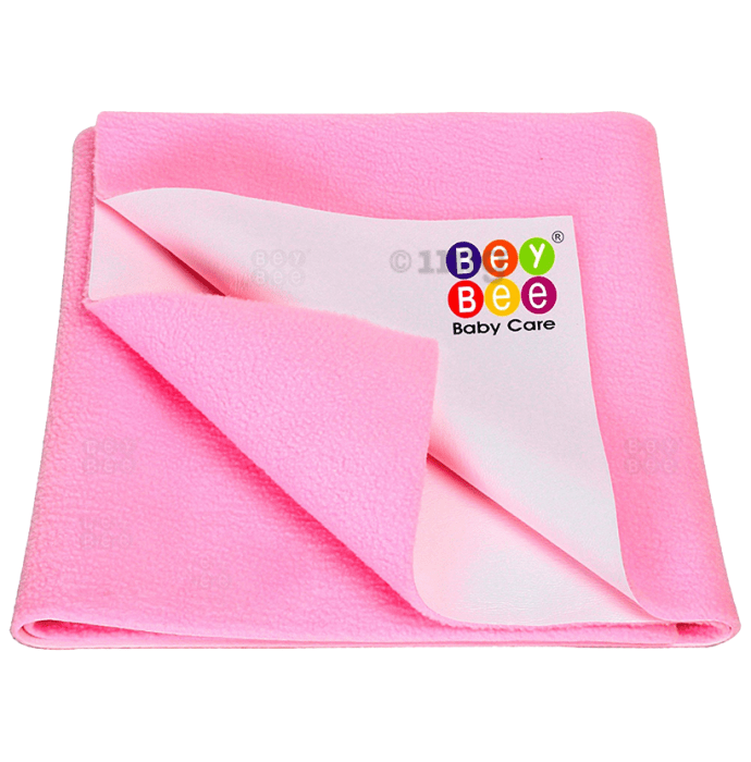 Bey Bee Waterproof Baby Bed Protector Dry Sheet for New Born Babies (70cm X 50cm) Small Pink