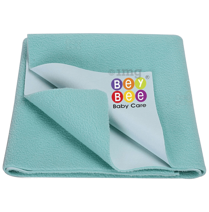 Bey Bee Waterproof Baby Bed Protector Dry Sheet for New Born Babies (70cm X 50cm) Small Sea Green
