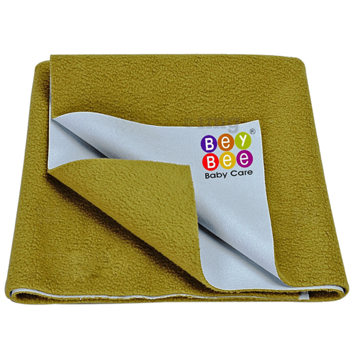 Bey Bee Waterproof Baby Bed Protector Dry Sheet for New Born Babies (70cm X 50cm) Small Golden