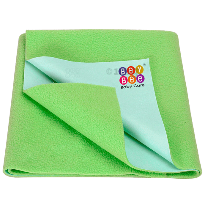 Bey Bee Waterproof Baby Bed Protector Dry Sheet for Toddlers (100cm X 70cm) Medium Light Green