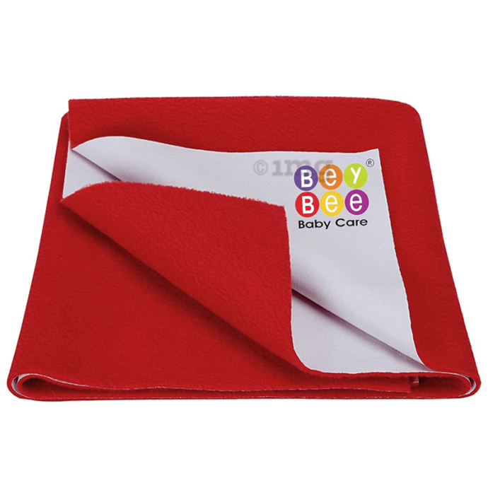 Bey Bee Waterproof Baby Bed Protector Dry Sheet for Toddlers (100cm X 70cm) Medium Cherry Red