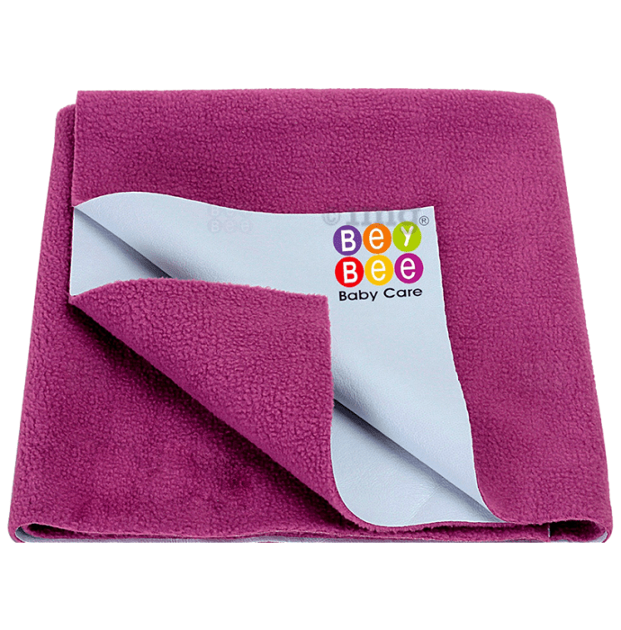 Bey Bee Waterproof Baby Bed Protector Dry Sheet for Toddlers (100cm X 70cm) Medium Rani Pink
