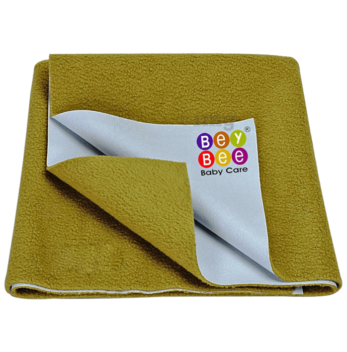 Bey Bee Waterproof Baby Bed Protector Dry Sheet for Toddlers (100cm X 70cm) Medium Golden