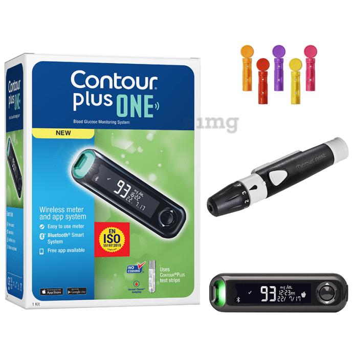 Contour Plus One Blood Glucose Monitoring System with Contour Plus Blood Glucose Test Strip 25S Free