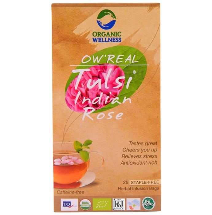 Organic Wellness OW' Real Tulsi Herbal Infusion Bags Indain Rose