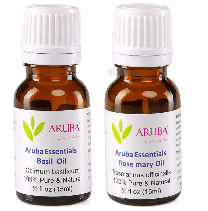 Aruba Essentials Combo Pack of Basil Oil & Rosemary Oil (15ml Each)