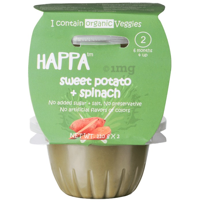 Happa Organic Puree Baby Food for 6 Months+, Stage-2, 110g Each Pack Sweet Potato & Spinach