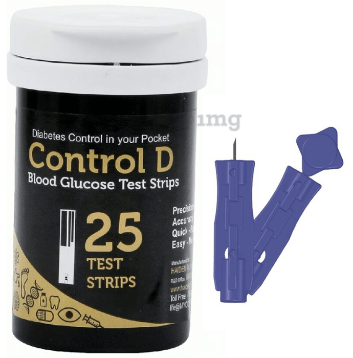 Control D Combo Pack of 25 Test Strips and 25 Lancets